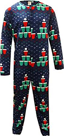 Bioworld Beer Pong Christmas Tree One Piece Union Suit Pajama For Men